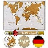 Weltkarte Zum Rubbeln mit Geschenkröhre in Deutsch - X-Large - 84x59 cm – Maps International - Über 50 Jahre in der Kartenherstellung - Kartografische Details mit Länder- und...