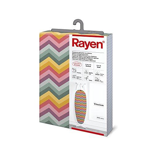 Rayen | Housse pour table à repasser Universelle | 4 épaisseurs: mousse, molleton, tissu 100 % coton et titane | Housse à revêement en titane | Gamme Premium | 127x51 | Multicolore