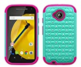 Microseven Compatible with Motorola Moto E 4G LTE Case 2nd GEN. Case, Hybrid Gel Protector Cover - Rhinestone Bling Diamond Cover (DM Teal Pink)