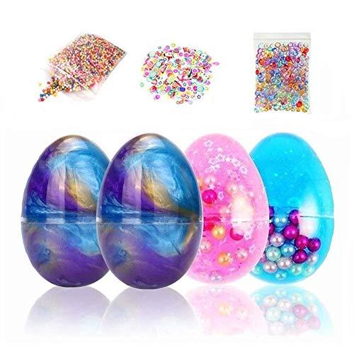 Simuer Ei Schleim Fluffy Slime Galaxy Egg Slime Kit Crystal Clay Schleim Spielzeug mit Fruchtscheiben, Fishbowl Perlen, Schaumbälle 6 Pack