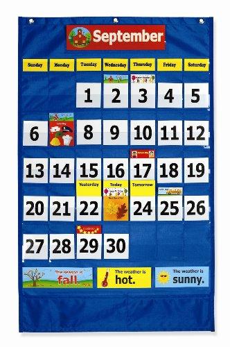 """Pacon Calendar & Weather Pocket Chart, Blue, 23-3/4"""" x 38"""", 1 Chart"""