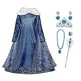 FZCRRDU KOCCAE Disfraz de Elsa, Niñas Cosplay Frozen Elsa Princesa Vestido Niña Azul Cuello Blanco Manga Larga, Disfraz de Cumpleaños de Carnaval, Fiesta de Disfraces (XL 150 (7-8) ANS)