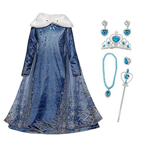 FZCRRDU KOCCAE Disfraz de Elsa, Niñas Cosplay Frozen Elsa Princesa Vestido Niña Azul Cuello Blanco Manga Larga, Disfraz de Cumpleaños de Carnaval, Fiesta de Disfraces (L 140(6-7) ANS)