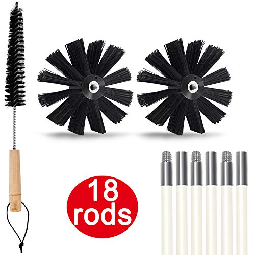 Dryer Vent Cleaner kit, 24 Feet Dryer Duct Cleaning Kit, Chimney Brushes, Extends up to 24 Feet, Two Synthetic Clean Brush Heads, Includes 18 Flexible Rods, 1 Dryer lint Vent Trap Cleaner Brush