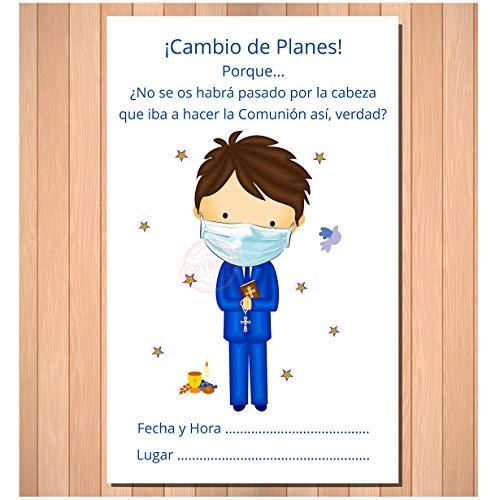 Invitaciones y Detalles de Primera Comunión Niño - ¡Con Mucho Humor! (20 Tarjetas + 20 sobres)