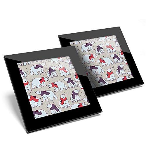 Impresionante juego de 2 posavasos de cristal, diseño de oso polar con dibujos animados animales, invierno brillante calidad de protección de mesa para cualquier tipo de mesa #46144
