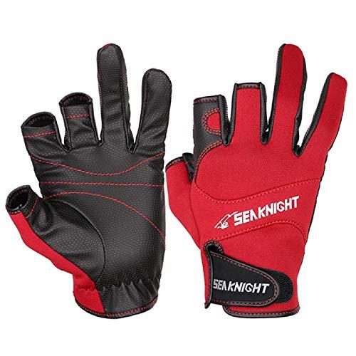 MIZUAN Winter-Angelhandschuhe 1 Paar 3 Atmungsaktive Halbfinger-Lederhandschuhe Neopren- Und Pu-AngelausrüStung XL Red