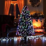 SHATCHI 3ft/90cm Nova Pre-Lit Fibre Optic Christmas Tree Various Multicolour Light Effects Holiday Xmas Home Decorations, Green, 3ft