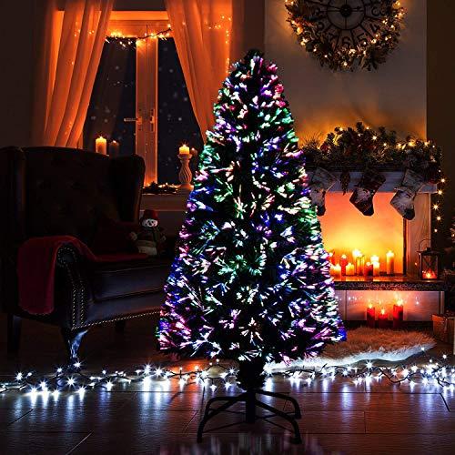 SHATCHI 3ft Nova Pre-Lit Fibre Optic Christmas Tree