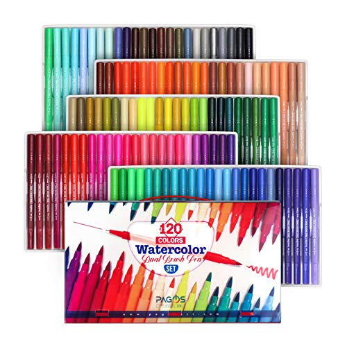 Pagos 120 Colors Dual Brush Pen Set Watercolor Art Markers With Two-Sided Tips, Bright and Vivid Colors, Acid Free 120 Different Shades