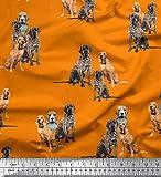 Soimoi Naranja Jersey de algodon Tela beagle, corso del bastón y Inglés cocker spaniel perro tela artesanal impresa por metro 58 Pulgadas de ancho