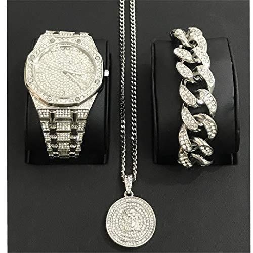 MTRESBRALTS - Reloj de Hombre Hip Hop Diamond Watch Joyas para Hombre Reloj Pulsera Collar Conjunto Conjunto Colgante Ice out Pulsera Cuba, Mujer, Rojo