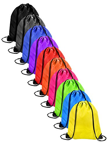 AKORD 10 Pieces Drawstring Bag Sack Pack Cinch Tote Kids Adults Storage Bag for Gym Traveling Turnbeutel 43 centimeters  Mehrfarbig (Multicolour)