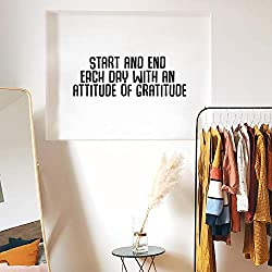 Image: Vinyl Art Wall Decal | Start Every Day with an Attitude of Gratitude | Motivational Life Quotes | Home Office Wall Decoration | Positive Thinking | Bedroom, Living Room, Wall Decor