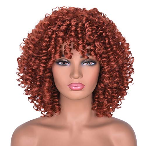 Goodly Short Curly Afro Wig with Bangs for Women Kinky Curly Hair Wig for Black Women Synthetic Heat Resistant Full Wigs(Orange)