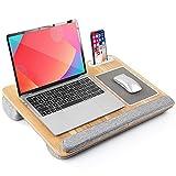 """LORYERGO Laptop Lap Desk - Lap Desk Fits Up to 17"""" Laptops, Lap Desk for Bed w/Wrist Rest & Mouse Pad, Laptop Desk w/Slot for Phone & Tablet, Writing Desk & Drawing (Wood Grain)"""