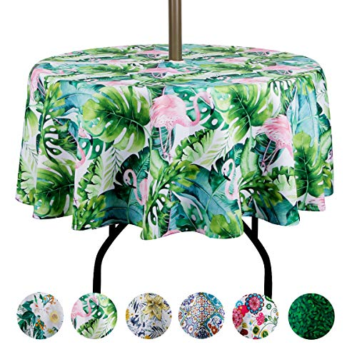 EHouseHome Outdoor Tablecloth Water Resistant Polyester Fabric Table Cover with Zipper Umbrella Hole for Garden Patio Tabletop 60Inch Round,Flamingo