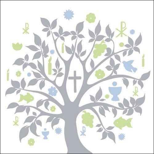 Ambiente 40x Servietten Symbol Baum Blau Silber Kommunion Konfirmation Taufe Tischdeko 20 Stück 33x33cm