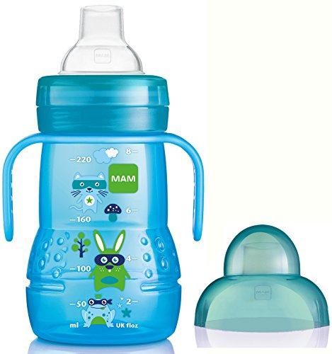 MAM Trainer Bottle, Non Spill Spout - 220 ml, Blue