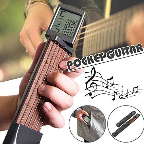 Balai Taschengitarren-Akkordtrainer, tragbares Gitarren-Übungsgerät für Anfänger, Finger-Gedächtnistrainer für Gitarren mit drehbarem Akkorddiagramm