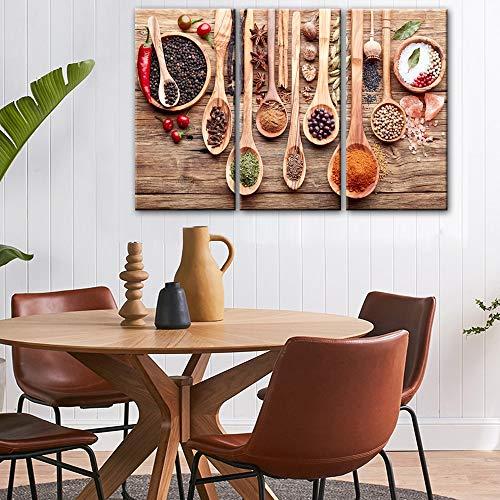 RHBNVR HD-druk canvas schilderij eten lepel korrel specerijen 3 stuks canvas foto's aan de muur modulaire afbeeldingen keuken hema canvas voor hoofdwanddecoratie