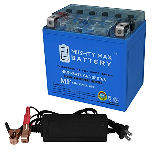 Mighty Max Battery YTX14-BSGEL Battery for Piaggio MP3 500 08-'13 + 12V 2Amp Charger Brand Product