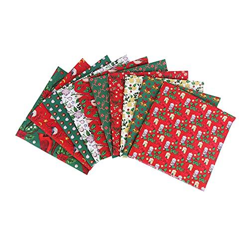 N\C Paquete de Tela de algodón Cuadrados Patchwork DIY Navidad Costura Álbum de Recortes Acolchado Artcraft Decoración (10 Piezas - 20x20 Pulgadas)