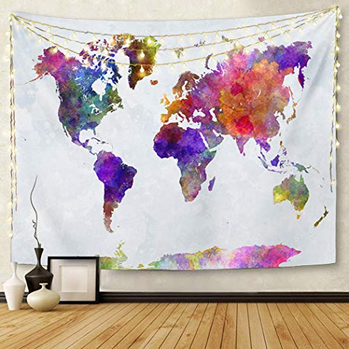Britimes Tapestry Wall Hanging World Map Watercolor World Abstract Map Colorful Painting World Tapestry for Bedroom Living Room Dorm Decor Home Decoration Art