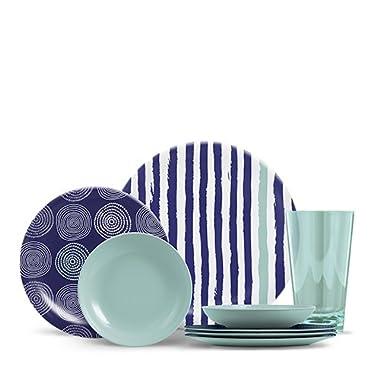 ThermoServ 16 Piece Melamine Dinnerware Set - Stripes & Spirals - Sea Aqua
