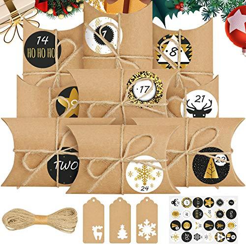 heekpek Packung mit 24 Stofftaschen Natürliche Geschenktüten 14 cm x 10 cm Adventskalender (50 PCS)
