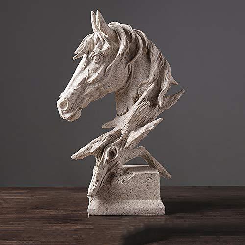 Pferdekopf Pferd Statue Pferdebüste Pferd Skulptur, Sandstein Harz-Verfahren, Weinkabinett Wohnzimmer-Bürohaus Der Retro- Verzierungen des Kreativen Handwerks Kleine Einfache Moderne Art,A,L