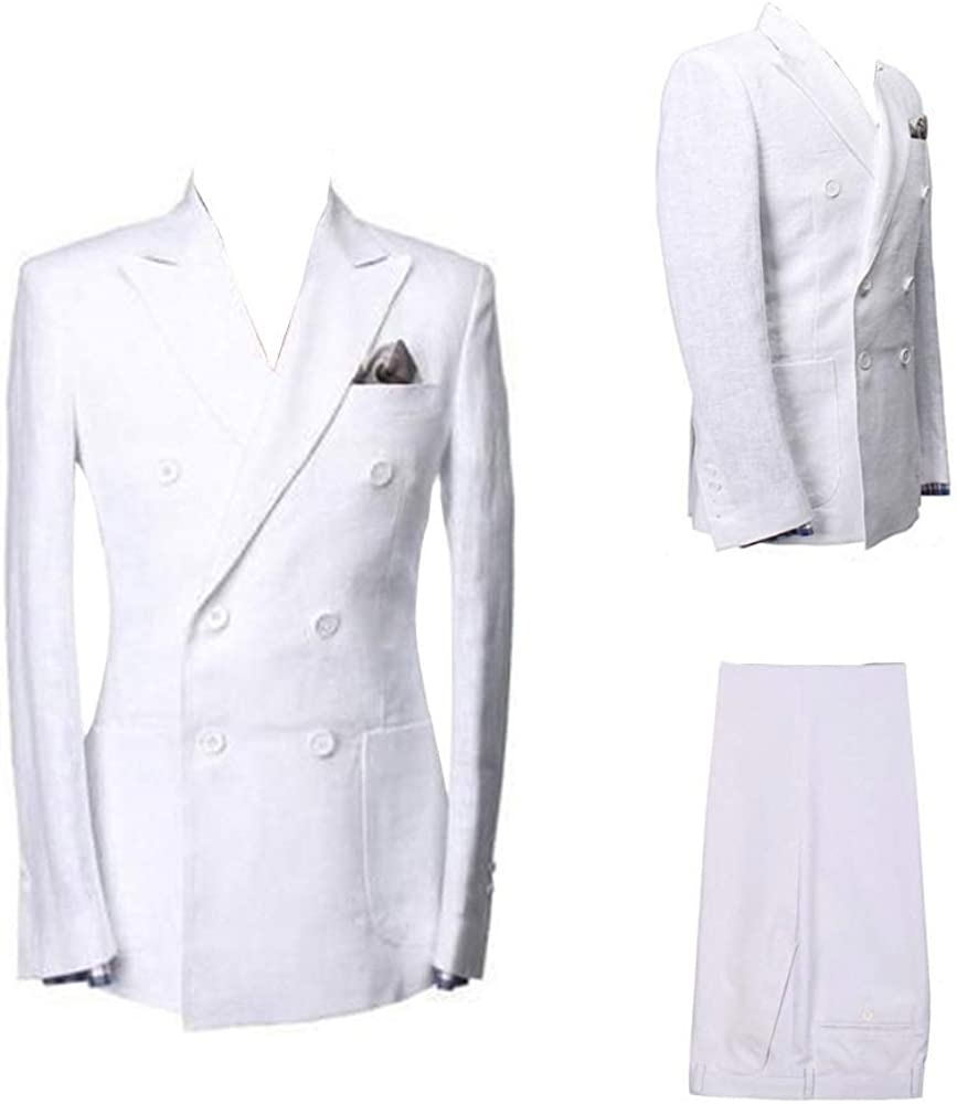 Mens Double Breasted Cotton Linen Suits Wedding Groomsmen Summer Beach Jacket and Pant Suits White Ivory Blue