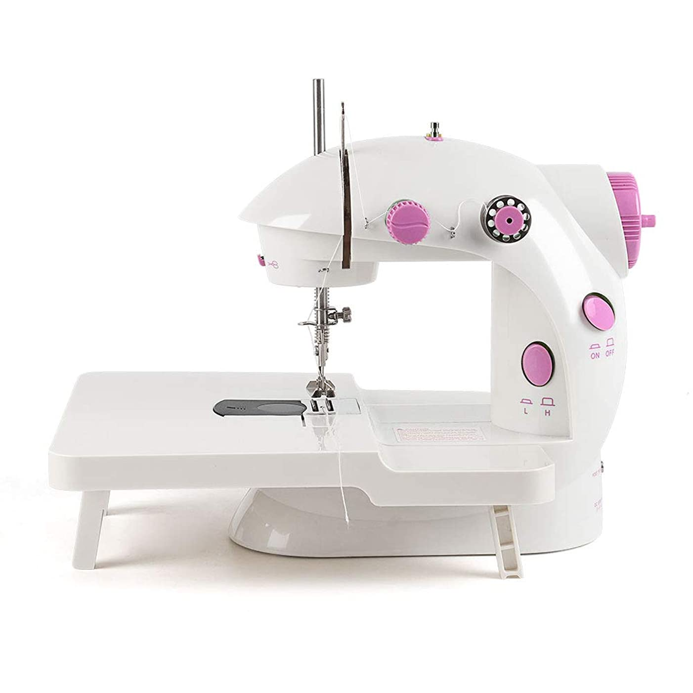 NEX Mini Sewing Machine Double Speed Double Thread Household Electric Sewing Machine with Extension Table Foot Pedal Lamp Thread Cutter Safety Cover (NX-BSM202A)