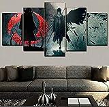 One Set 5 Panel Anime Naruto Itachi Uchiha Imagen Obra de arte Pared Lienzo decorativo para el hogar Tipos de impresión HD Pintura modular 40x22 pulgadas