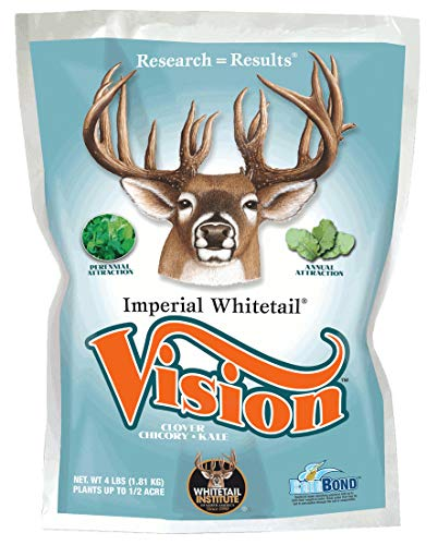 Whitetail Institute Vision Deer Food Plot Seed for Fall Planting, Perennial Blend of Clover, Chicory and Kale to Attract and Hold Deer, Heat, Cold and Drought Tolerant, 4 lbs (.5 Acres)