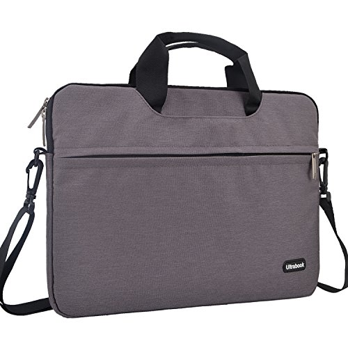 15.6 inch Laptop Shoulder Bag, Laptop Sleeve Messenger Protective Bag for 15 - 15.6 Inch Notebook, HP Acer ASUS Dell Lenovo 17' Chromebook, MacBooks Air Pro Computer Carrying Case Women/ Men, Grey