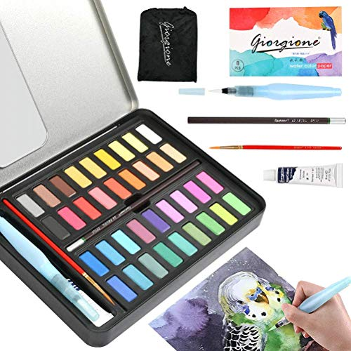 YOTINO Watercolor Paint Set 36 Vibrant Color Cake Set with Bonus Watercolor Brush Pen Carbonized Pencil White Watercolor Paint and Watercolor Paper Perfect for Students, Kids, Beg