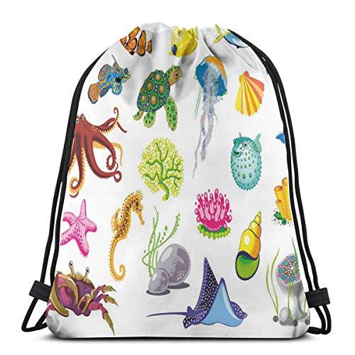 YUDILINSA Beutel Rucksack Kordelzug Turnbeutel,Meerestiere Octopus Dolphin Shells Stingray Crab Turtle Jellyfish Wildlife Graphic,Unisex Sportbeutel Kordelzug Rucksack für Sport,Outdoor und Reisen