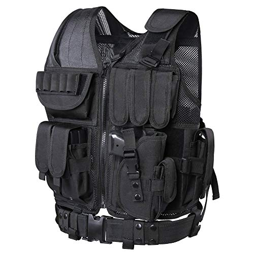 Tactical Vest Mesh Breathable Molle Vest Adjustable Combat Training Uniform with Detachable Belt & Holster (Black)