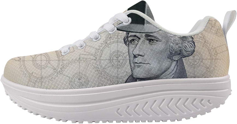 Owaheson Swing Platform Toning Fitness Casual Walking shoes Wedge Sneaker Women American Founding Father Alexander Hamilton