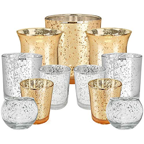 Just Artifacts 11pc Assorted Gold & Silver Mercury Metallic Glass Votive Candle Holders (Color: Magically Elegant)