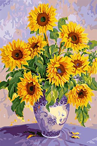 N/R Puzzels 1500 Stukken Voor Volwassenen,Zonnebloemen In Vaas Klassieke Puzzel Speelgoed Cadeau Woondecoratie 52x38Cm