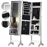 Renee Libre de Pie de Longitud Completa Mueble de Joyería de Espejo de Dormitorio Con Luces LED Táctiles y Organizador de Almacenamiento de Estantes Para Maquillaje y Cosmética (Blanco)
