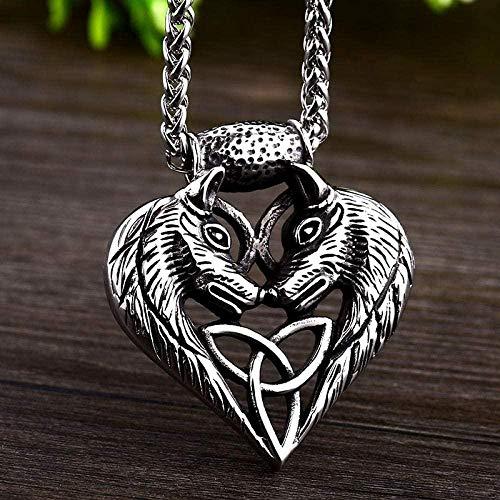 NC110 Soldado de Acero, Doble Cabeza de Lobo, Colgante de Animal, diseño de corazón, Encanto, guardián, Collar Vikingo, Gargantilla de Regalo para Hombre, joyería YUAHJIGE