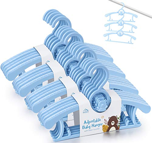 Anstore 20 Stück Mitwachsende Kinderkleiderbügel Platzsparend mit Stapelbaren Bärchen-Haken Rutschfeste Kleiderbügel für Babys und Kleinkinder, Blau