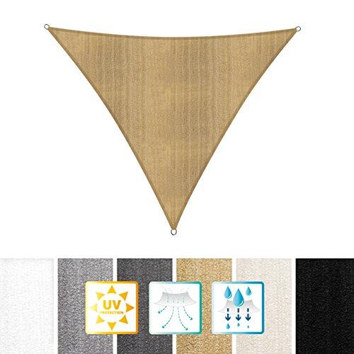 Lumaland Sonnensegel Dreieck 3 x 3 x 3 m - inkl. Befestigungsseile - Wasserabweisend, Wetterbeständig, 100% HDPE mit UV Schutz - Sonennschutz, Schattenspender, Wetterschutz - Sand