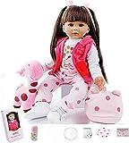 """ZIYIUI Muñeca Reborn 60 cm /24"""" Bebe Reborn Niña Muñeco Simulación de Bebes Reborn Silicona de Realista Lindo de la Muñeco Juguetes Regalode Los Niños Reborn Toddler Dolls"""
