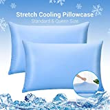 Luxear Pillowcases 2 Packs, Stretch Cooling Pillowcase Standard, Summer Soft Cool Pillow Covers