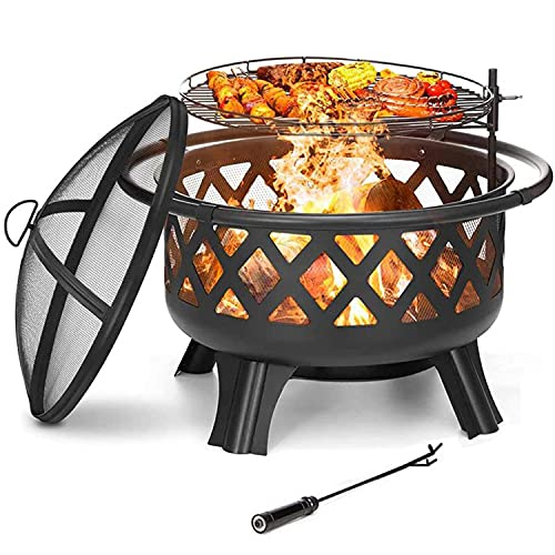 Fire Pit Firepit Outdoor Brazier Garden BBQ Cooking Grill Round Stove Patio Heater Height Adjustable BBQ C