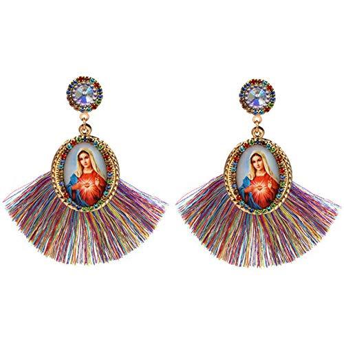 Nuevo Diseño De Pendientes Bohemios Con Borlas Para Mujer, Pendientes De Cristal, Pendientes De La Virgen María, Joyería De Declaración Para Mujer